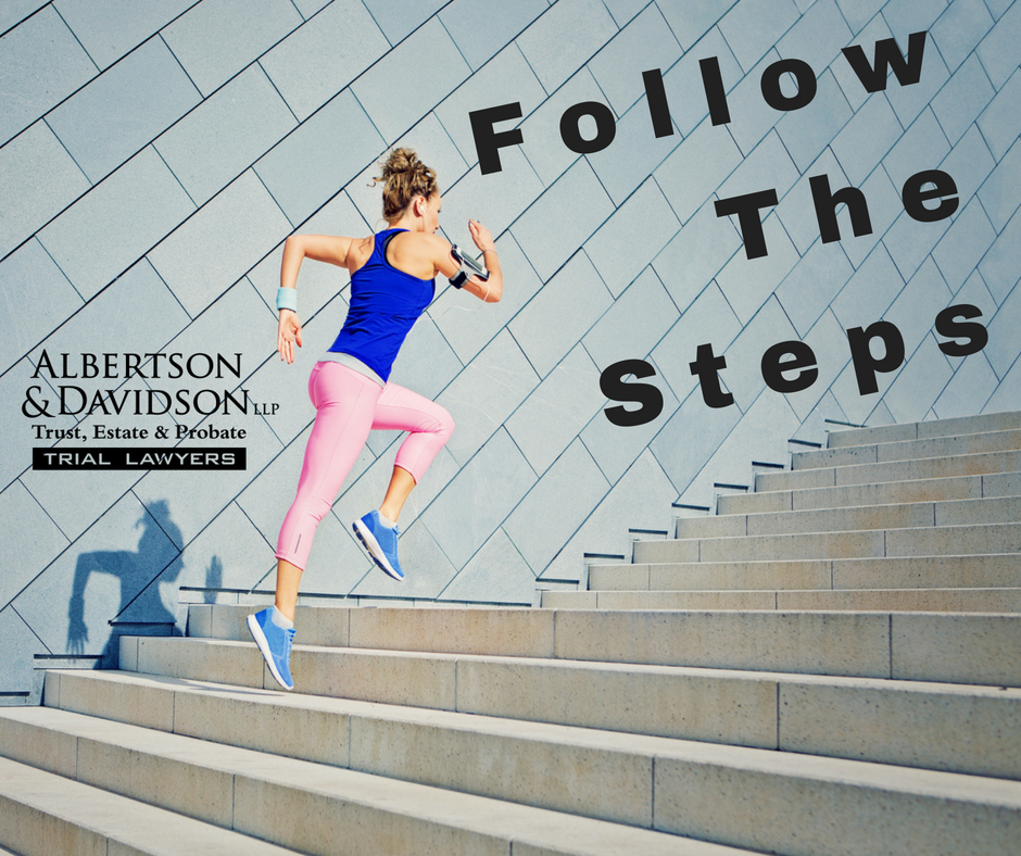 Follow the steps, woman running up steps