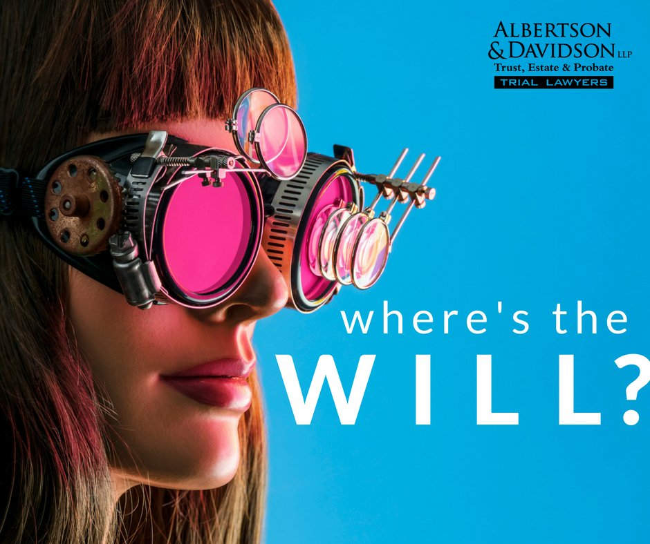 Where's the will? Image of a woman with magnifying glasses