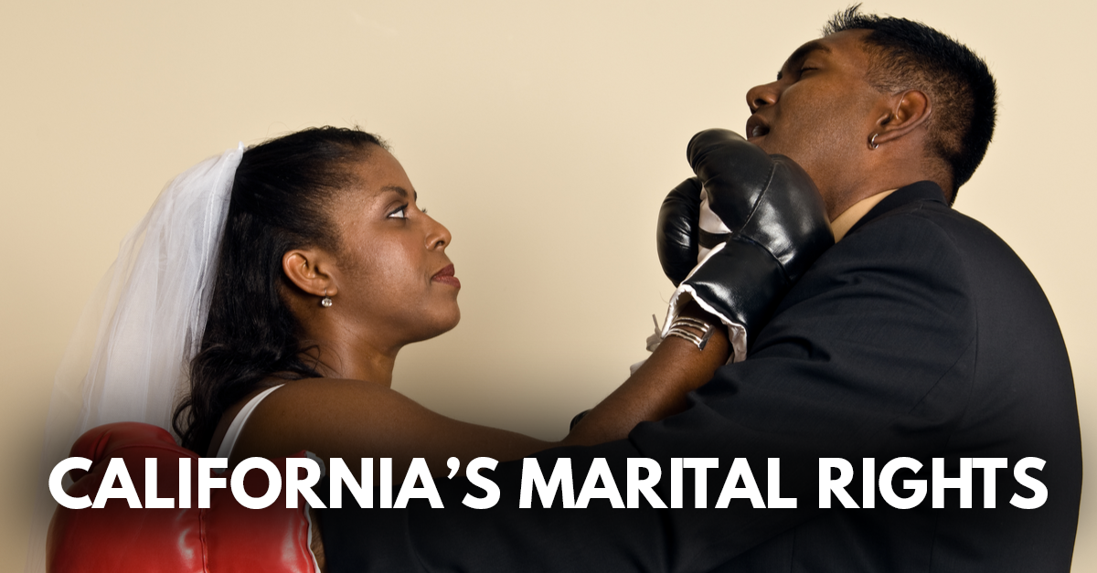 Woman in a veil punching a man in a suit to represent marital rights in California trust disputes